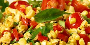 Grilled Corn Salad with Baby Spinach